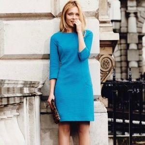 Boden Teal Blue Ottoman Shift Ribbed Dress Work